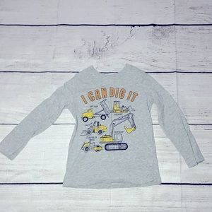 🏈Carter's 4T Construction Tee size 4T long sleeve